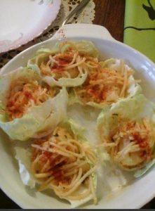 Cabbage Spaghetti Cups